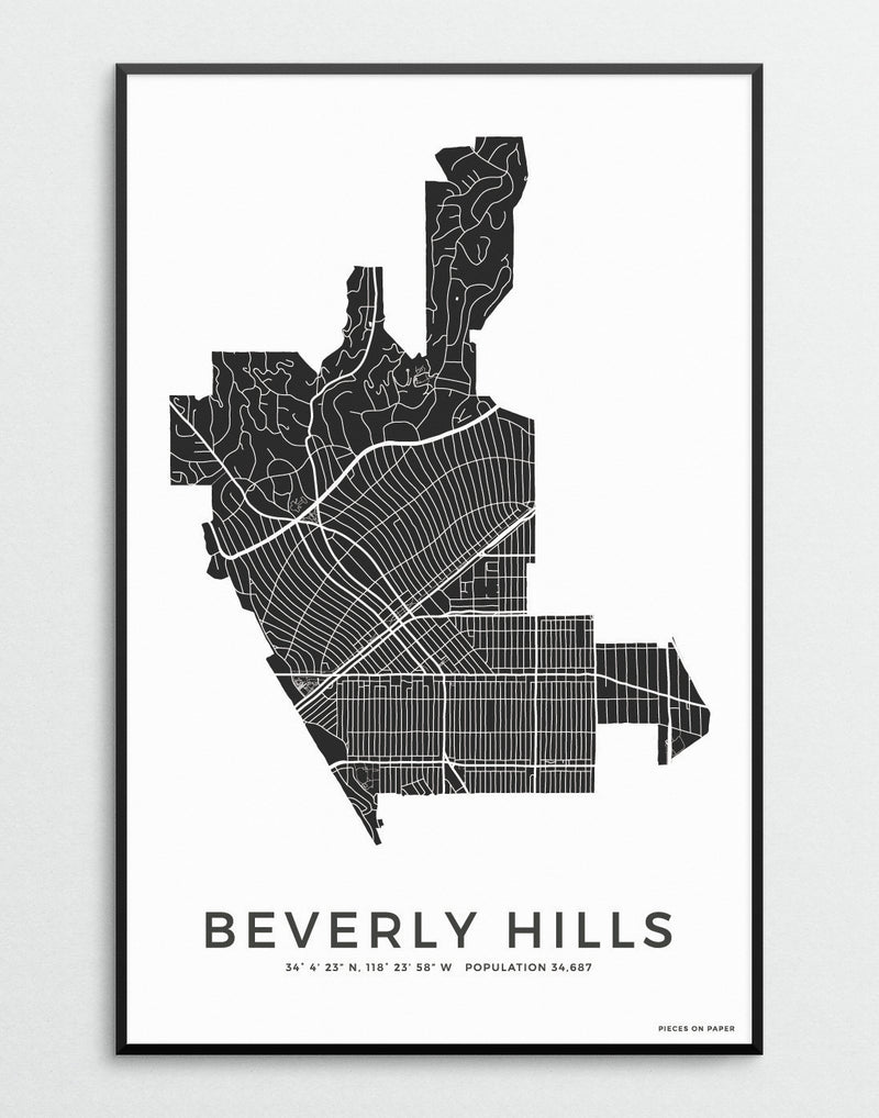 Beverly Hills city map art print minimalistic