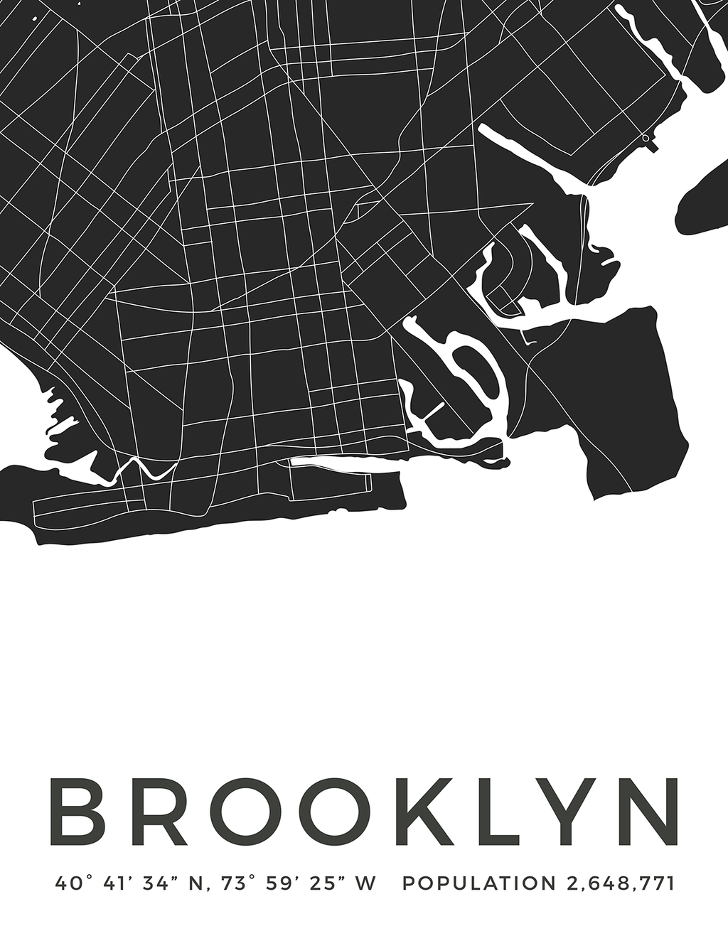 Brooklyn city map poster minimalistic