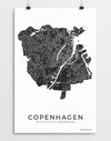 Copenhagen city map art print for the wall