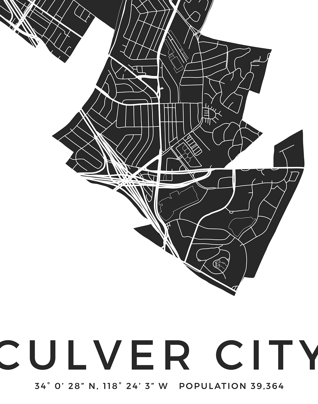 Culver City Los Angeles neighborhood city map print