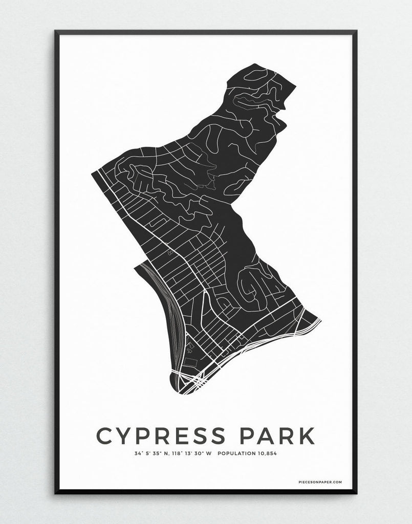 Cypress Park minimalistic city map print