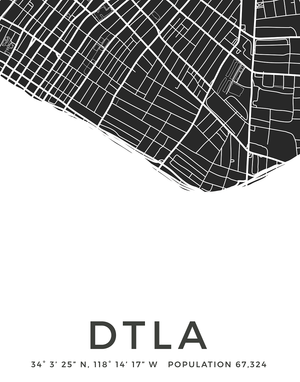 Downtown Los Angeles city map print for the wall