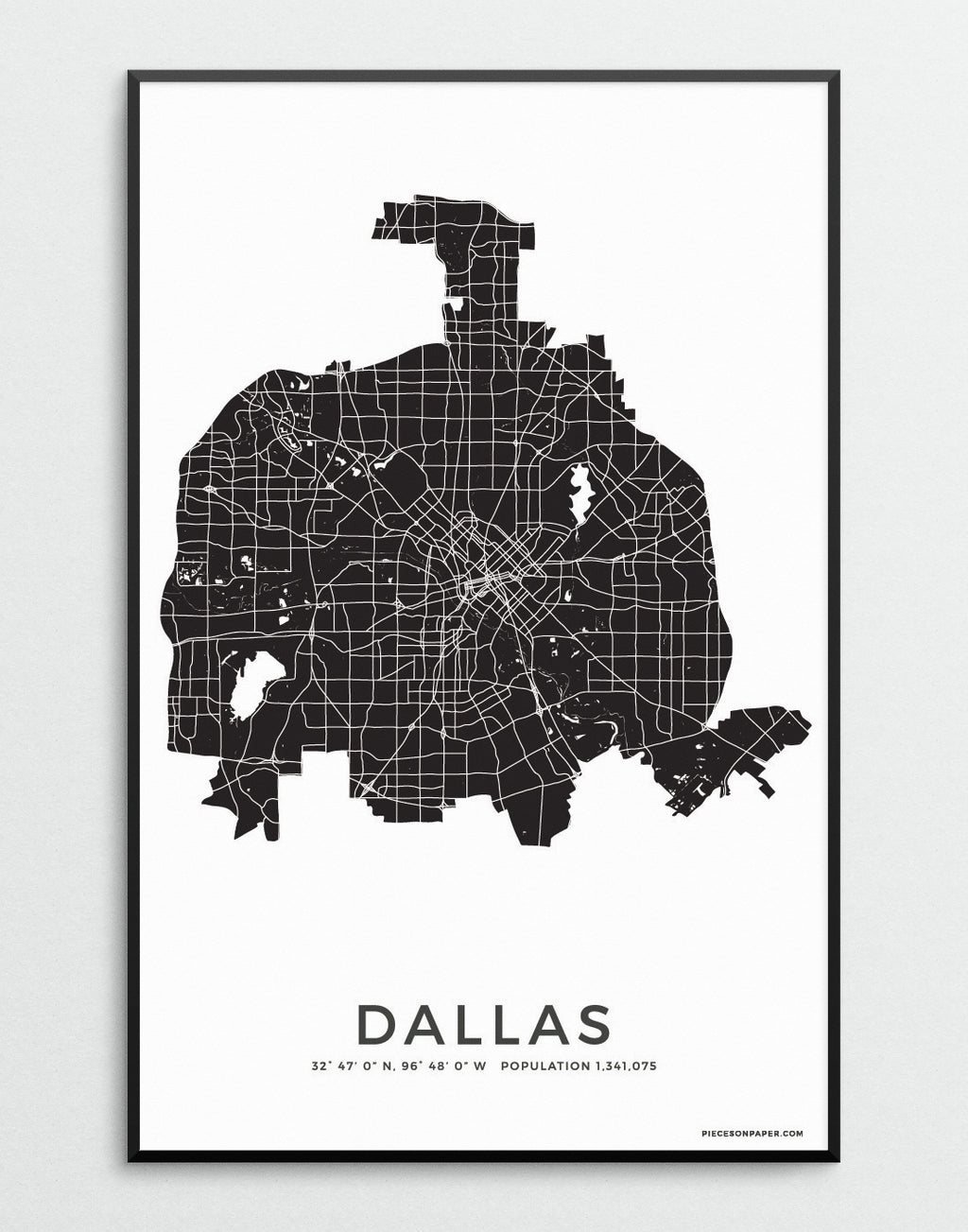 Dallas City Map print for the wall