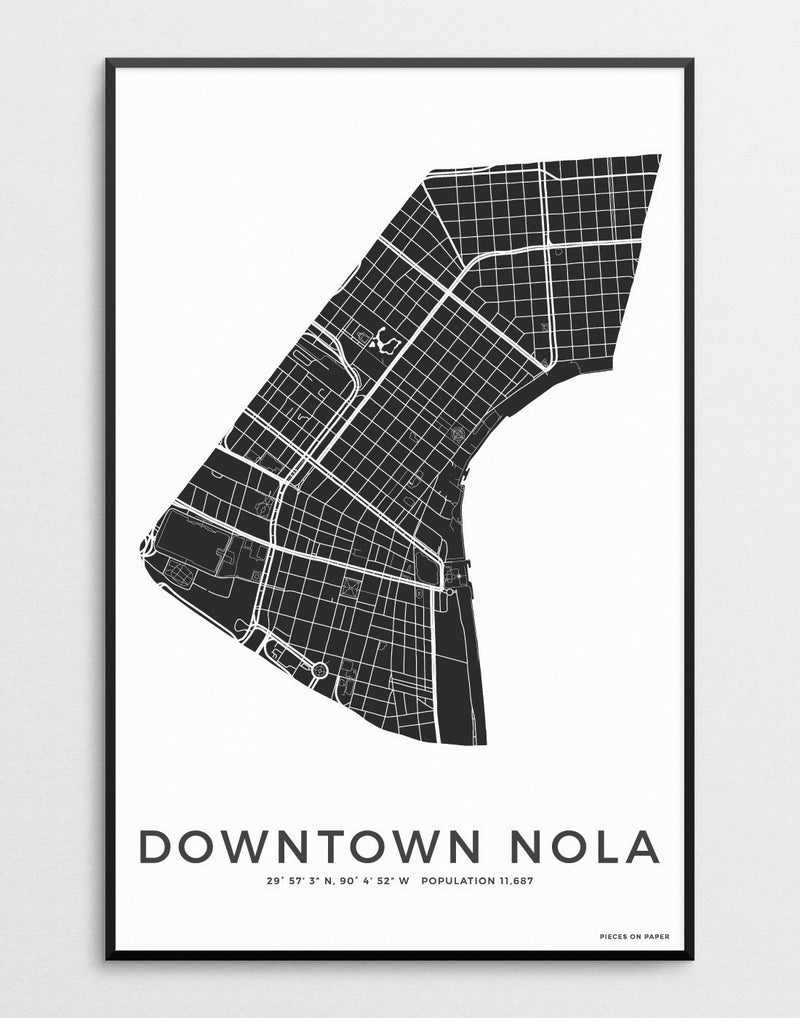 Downtown New Orleans city map print