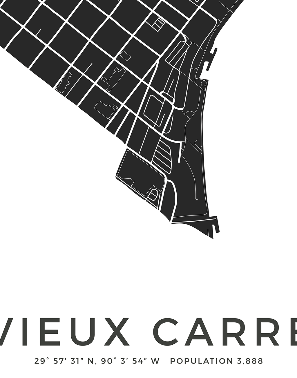 Vieux Carré New Orleans city map print