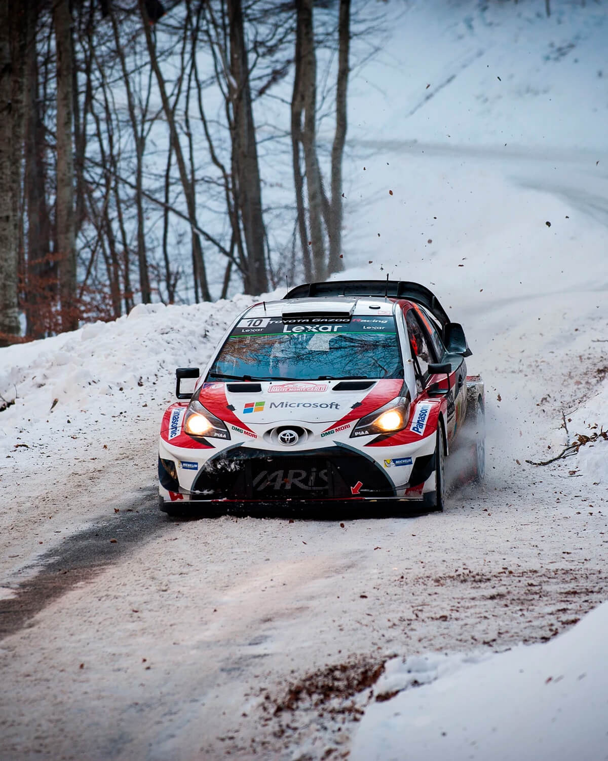 toyota on snowy road at rallye monte-carlo