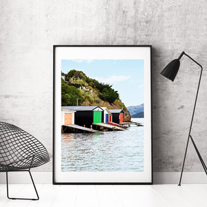 New Zealand Print / New Zealand Photography / Duvauchelle Boat Sheds