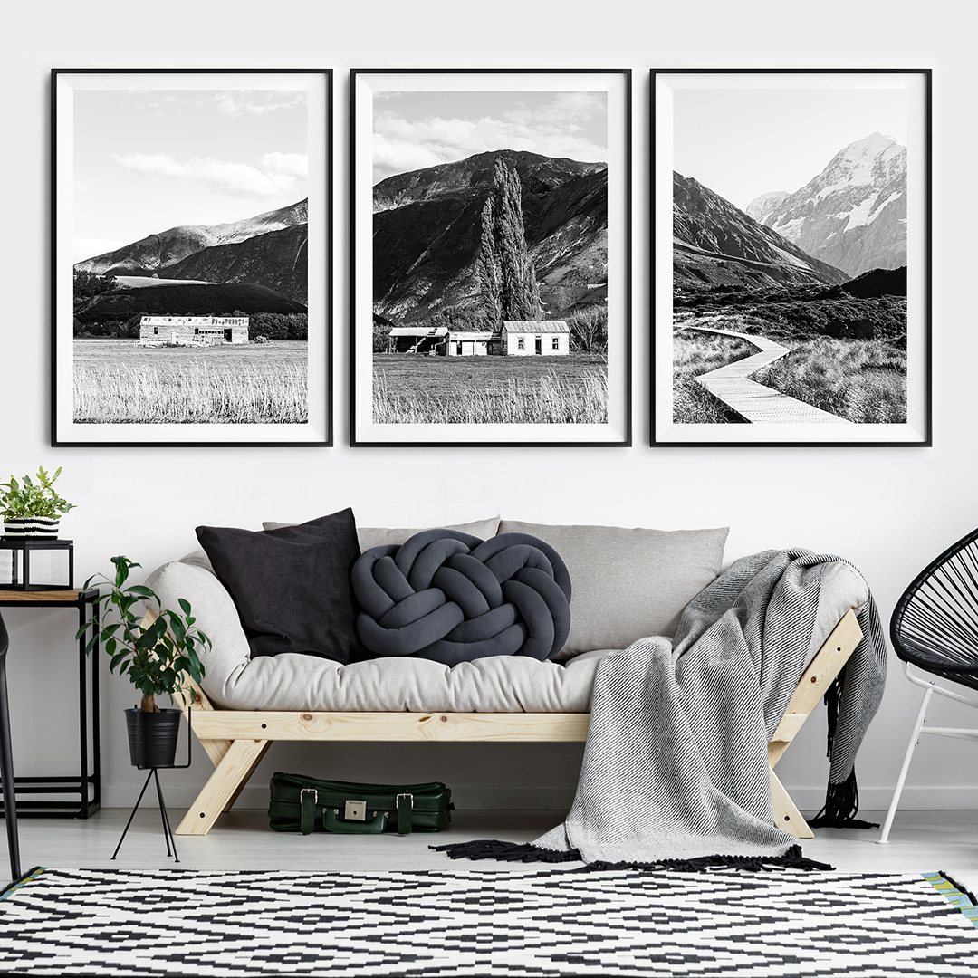 Black and White Print / New Zealand Print / Mount Cook