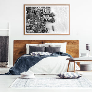 Black and White Print / New Zealand Print / River Rocks
