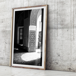moroccan interior / black and white photography / black and white print