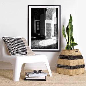 black and white interior decor / black and white photographic art print / moroccan artwork
