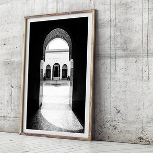 Moroccan Decor / Photo Print / Black and White Art Print / Monochrome Interior