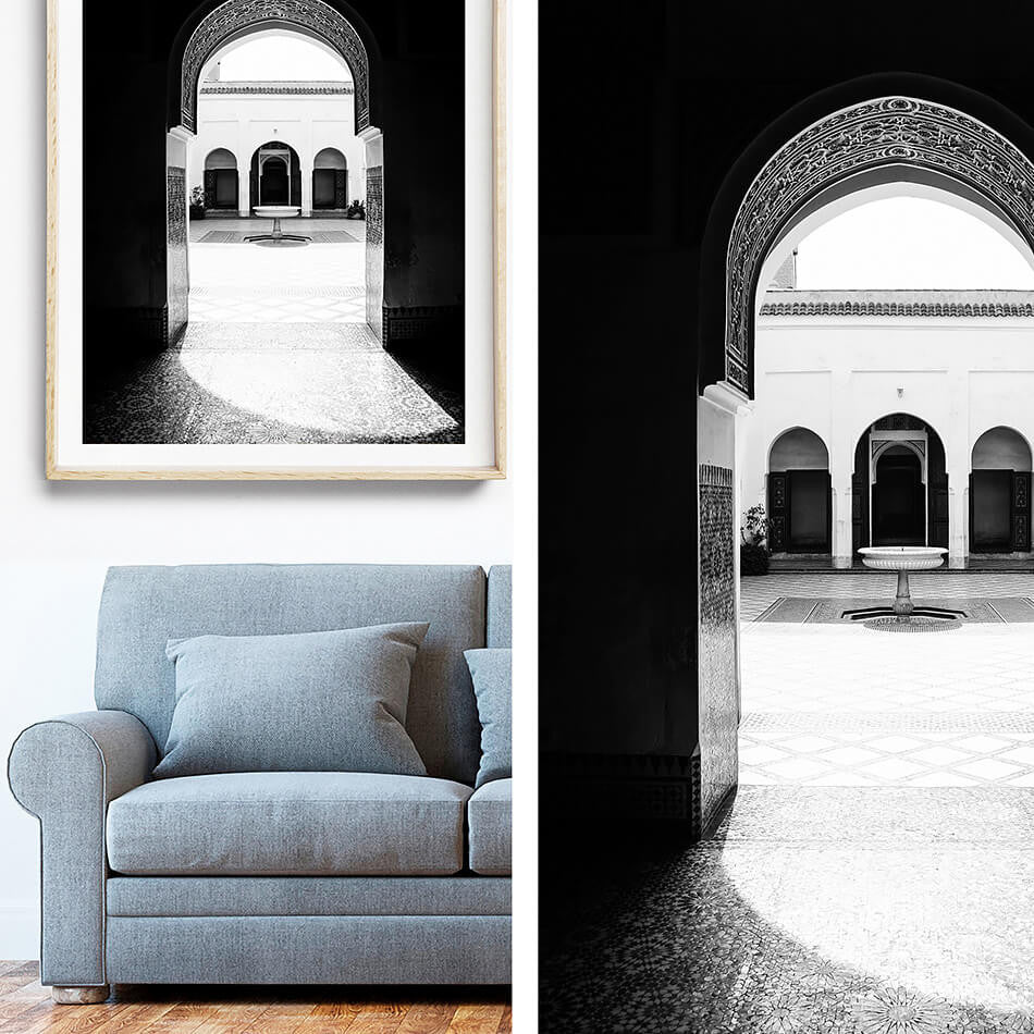 Black and White Interior Art / Monochrome Interior / Morocco Photography