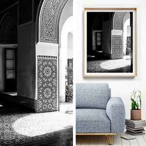 Morocco Travel Photography / Black and White Interior / Monochrome