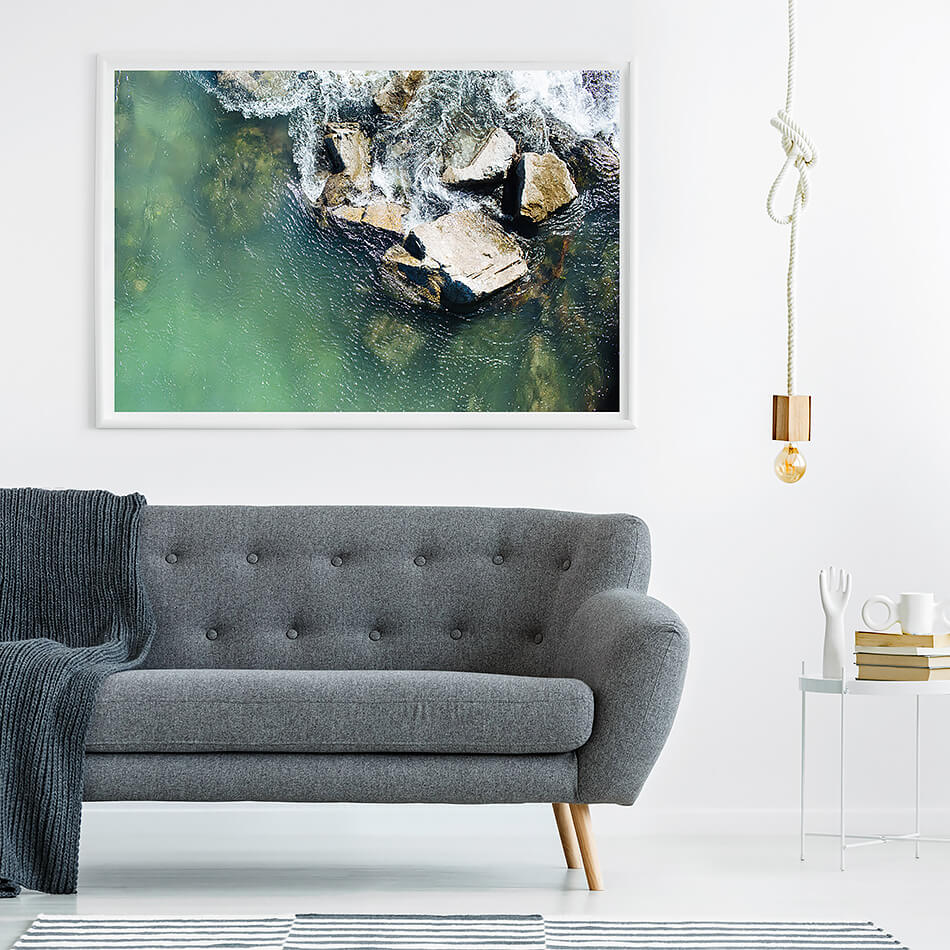 beach print water print green interior styling water and rocks print rock pool photograph coastal home natural interior