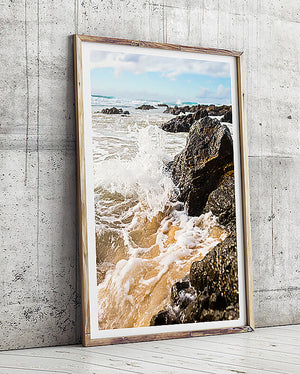 beach print byron bay beach artwork coastal art print coastal interior beach artwork water and ocean artwork framed prints