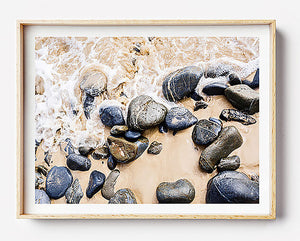 coastal art print for home interior wall art brisbane beach print beach photography beach rocks organic interior