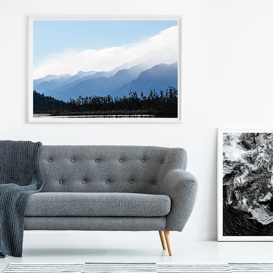 new zealand mountains print mountains print for monochrome interior abstract mountains print nature print blue interior print