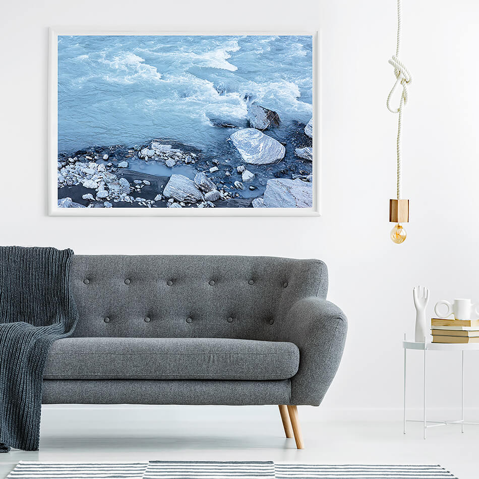 blue water print water print blue interior wall art print photographic print of Franz Josef Glacier new zealand