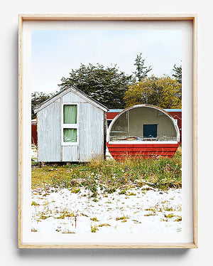 tiny home in new zealand photographic print of snow village in south island new zealand authers pass