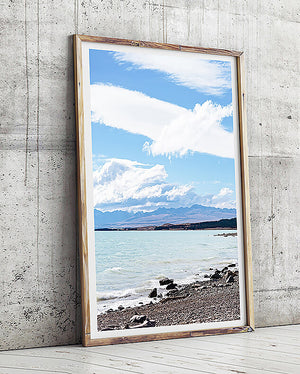 beach print grey tones interior lake tekapo new zealand travel photography