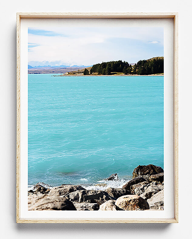 beach print lake tekapo new zealand south island photographic print of blue waters and rocks