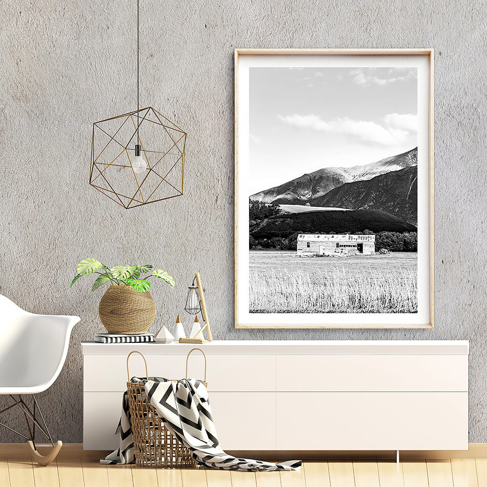 monochrome print black and white print of nature mountains in new zealand
