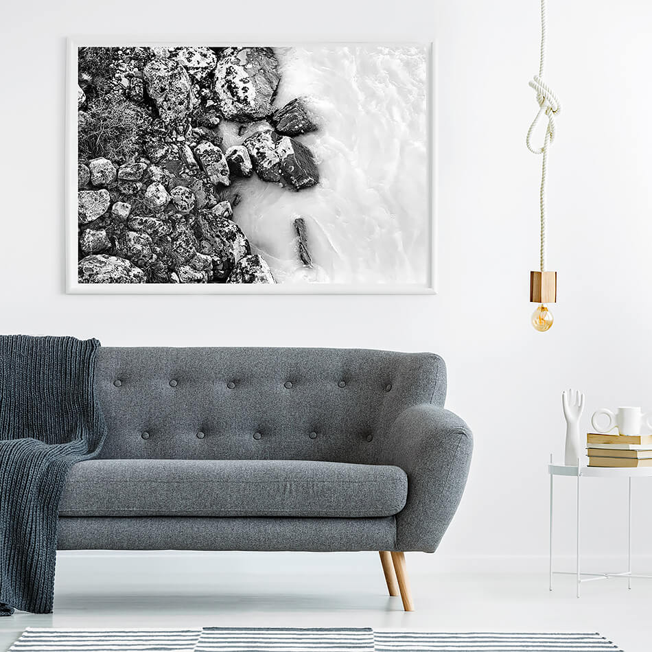 black and white photo print black and white interior print for wall of water in new zealand monochrome print