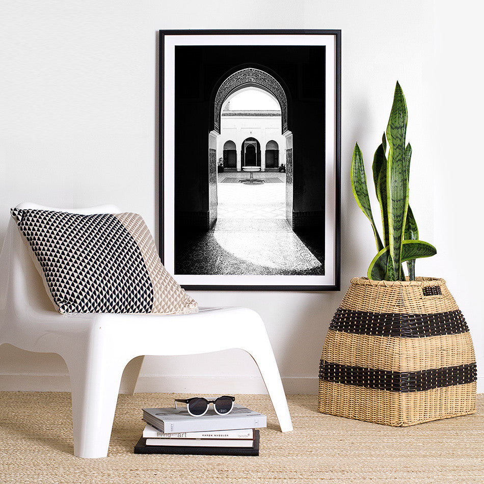 Bahia Palace Marrakesh photography photo print for wall moroccan home wares design black and white decor homewares