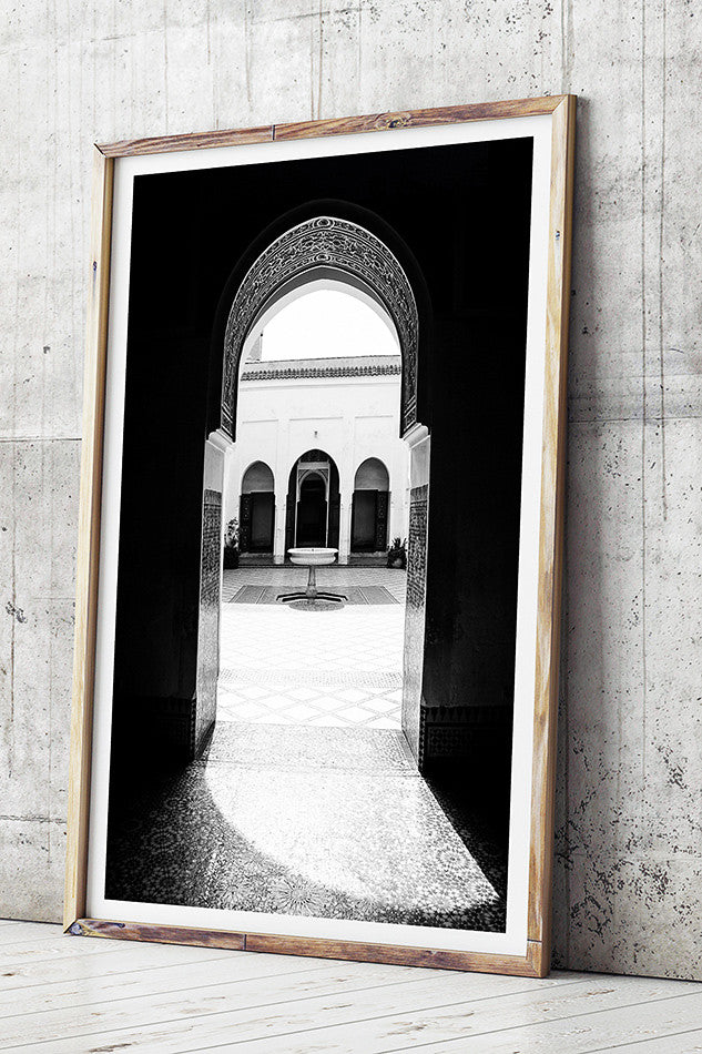 Limited edition fine art photography print for the wall of bahia palace marrakesh morocco artwork black