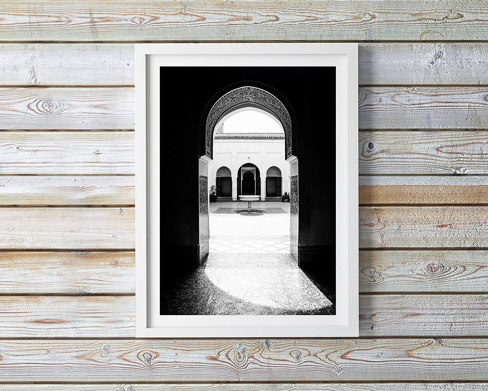 Photo art for wall fine art photographic print for home interior ikea ribba frame print travel photography of Bahia Palace Marrakesh Morocco