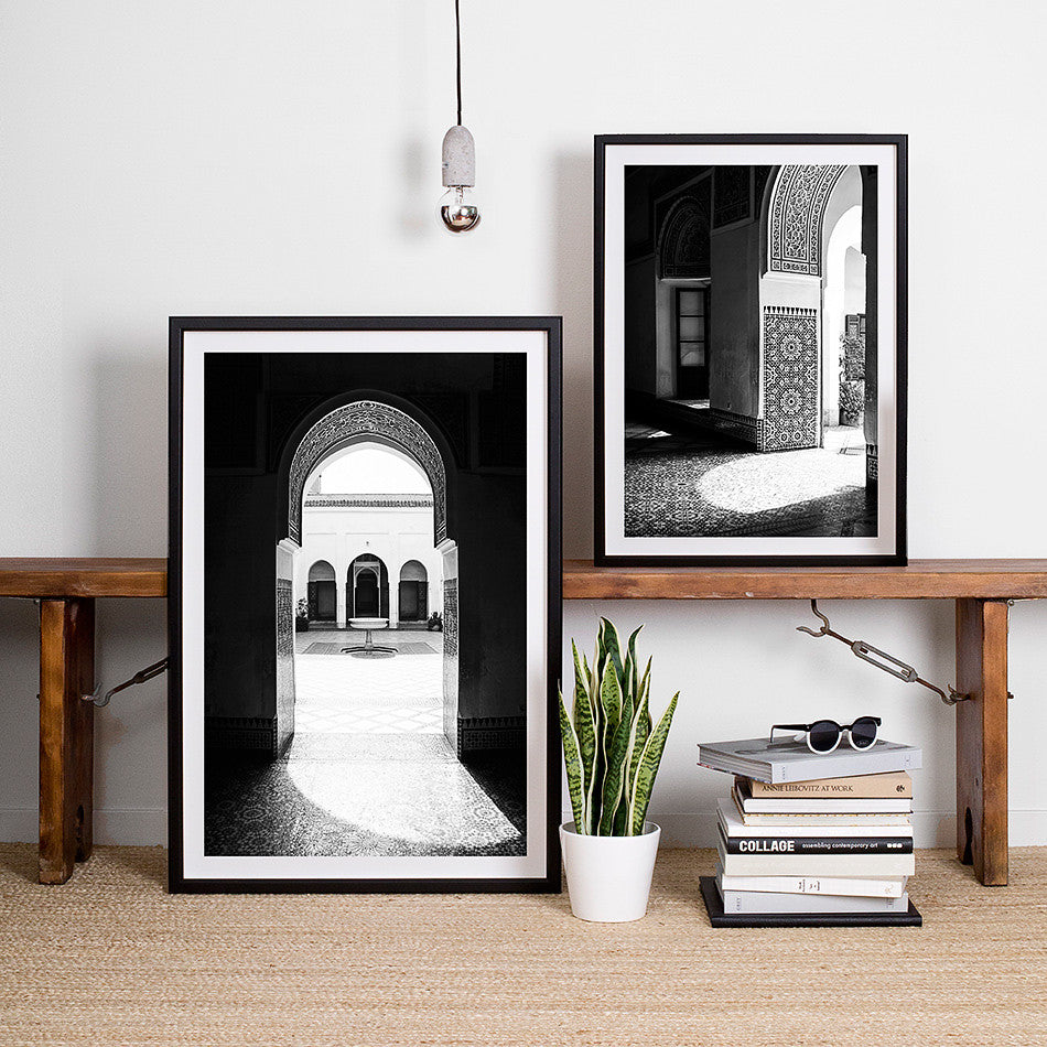 black and white decor interior framed artwork print photography bah palace moroccan home wares design decor for walls