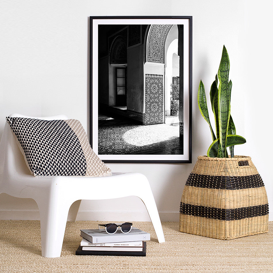 black and white interior framed artwork print photography bah palace moroccan homewares design decor
