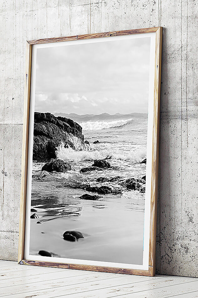 black and white photography byron bay beach framed art monochrone interior art black and white interior art print wategos beach byron bay photographic art brisbane beach print brisbane beach art art for walls brisbane byron bay photography brisbane photographer beach print