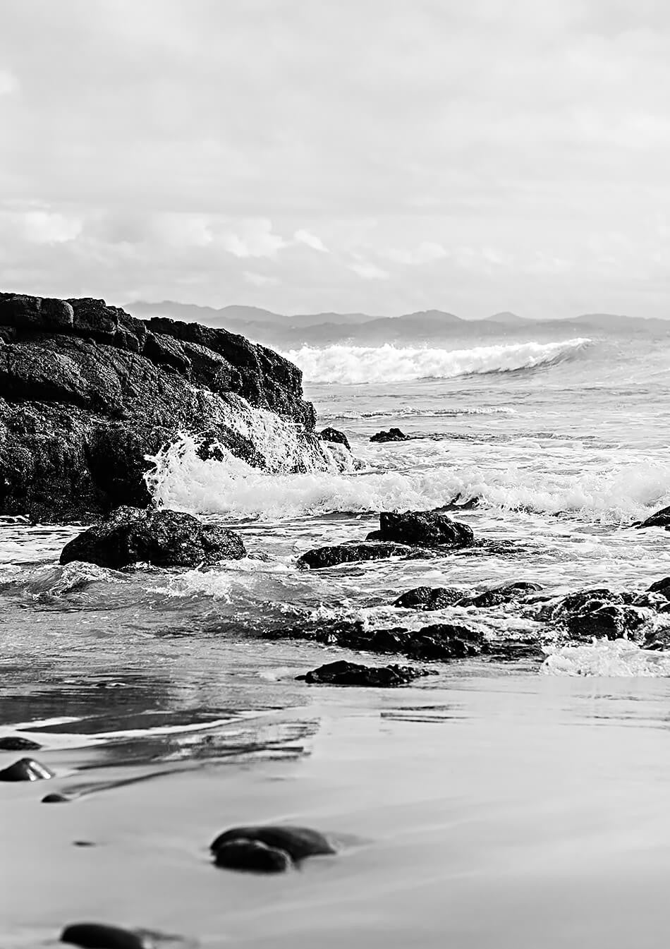 black and white interior art print byron bay brisbane photographer beach print black and white photography byron bay beach framed art monochrone interior art wategos beach byron bay photographic art brisbane beach print brisbane beach art art for walls brisbane byron bay photography