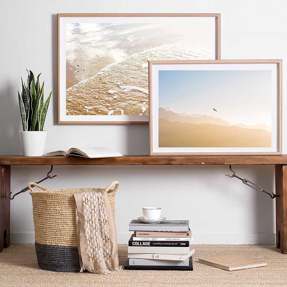 framed natural toned artwork print for wall coastal decor beach interior homewares sky photography
