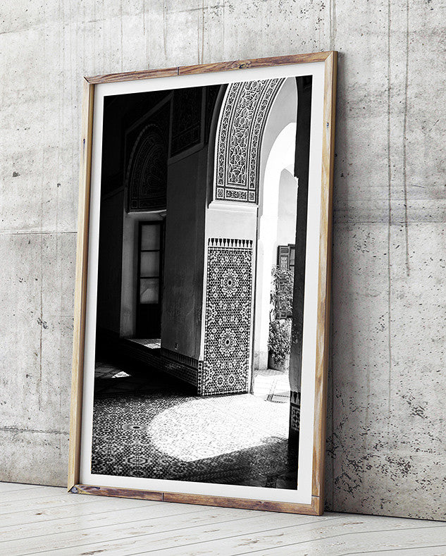 Marrakech moroccan interior art for home moroccan artwork art print rustic black and white photography print
