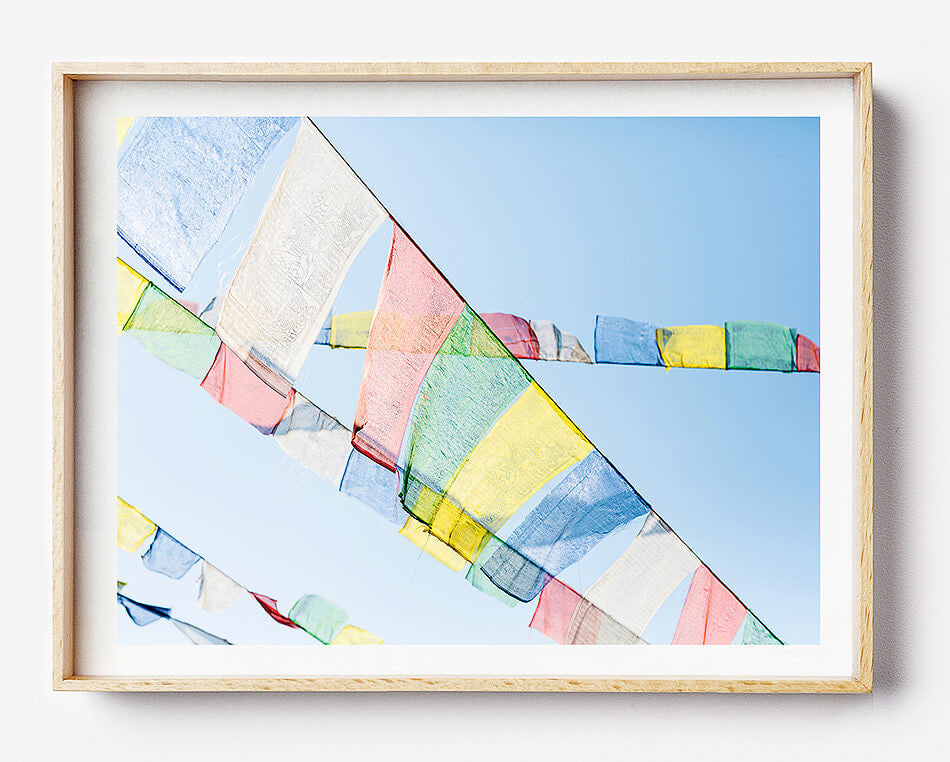 nepal art photo print prayer flags of nepal tibetan prayer flags art print prayer flags for the home hiking in nepal everest village limited edition fine art photography print was created in kathmandu pokhara nepal artwork for the home interior travel photographer photographic print photographic print photographic print shop brisbane home decor wall art photographic prints for the home framed art prints brisbane