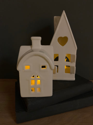Set of 2 ceramic tea light houses - Home Bee