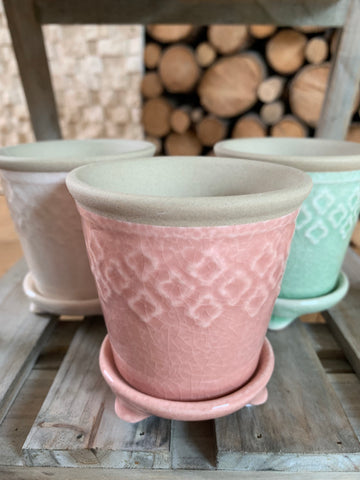 Stoneware planters with matching plate - Home Bee