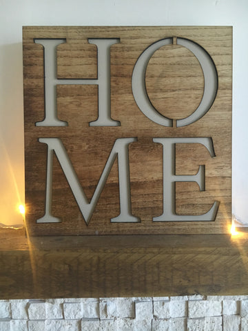 Wooden cutout HOME plaque - Home Bee