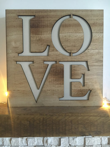 Wooden cutout LOVE plaque - Home Bee