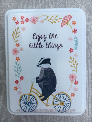 Enjoy the little things badger tin - Home Bee