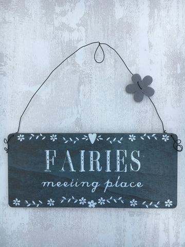 Fairies meeting place hanging plaque - Home Bee