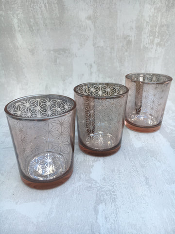 Small copper mirrored tea light holders - Home Bee