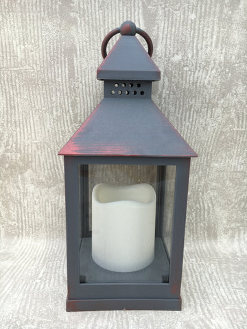 Flameless grey and copper lantern - Home Bee