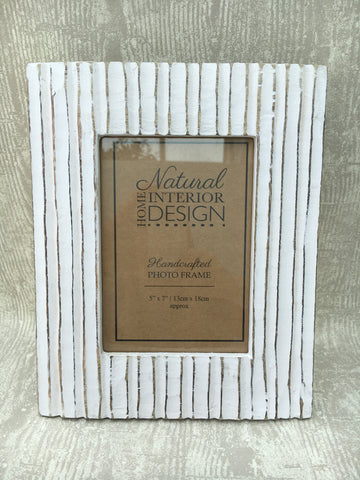 White ribbed photo frame - Home Bee