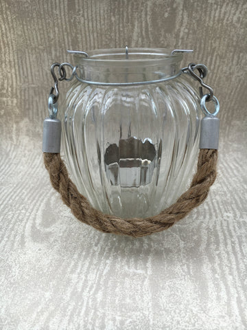 Glass ribbed tea light holder - Home Bee
