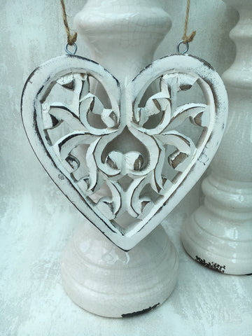 Filigree hanging wooden heart