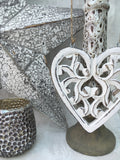 Filigree hanging wooden heart - Home Bee